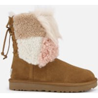 UGG Women's Classic Short Patchwork Fur Sheepskin Boots - Chestnut - UK 4 - Tan