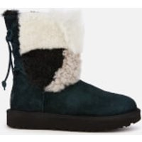 UGG Women's Classic Short Patchwork Fur Sheepskin Boots - Black - UK 7 - Black