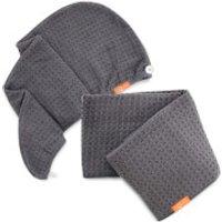 Aquis Moody Grey Waffle Hair Turban + Moody Grey Waffle Hair Towel Bundle (Worth £75)