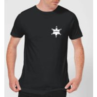 Toy Story Sheriff Woody Badge Mens T-Shirt - Black - M - Black