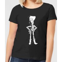 Toy Story Sheriff Woody Womens T-Shirt - Black - L - Black