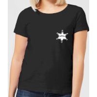 Toy Story Sheriff Woody Badge Womens T-Shirt - Black - XS - Black
