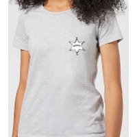 Toy Story Sheriff Woody Badge Womens T-Shirt - Grey - S - Grey