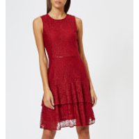 MICHAEL MICHAEL KORS Women's Lace Flounce Dress - Maroon - L - Red