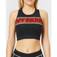 Ivy Park Womens Sheer Flocked Active Logo Bra - Black - XS - Black