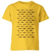 Florent Bodart Fish In Geometric Pattern Kids' T-Shirt - Yellow - 9-10 Years - Yellow