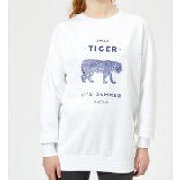 Florent Bodart Smile Tiger Women's Sweatshirt - White - S - White