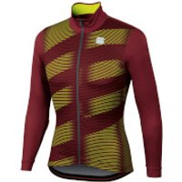 Sportful Moire Jersey - S - Ruby Wine/Yellow Fluo