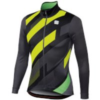 Sportful Volt Thermal Jersey - L - Black/Anthracite/Yellow Fluo