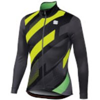 Sportful Volt Thermal Jersey - XXL - Black/Anthracite/Yellow Fluo