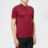 John Smedley Men's Nailsea 30 Gauge Merino Tipped Polo Shirt - Bordeaux/Camel - L - Burgundy