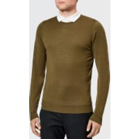 John Smedley Men's Lundy 30 Gauge Extra Fine Merino Crew Neck Jumper - Khaki - XL - Green