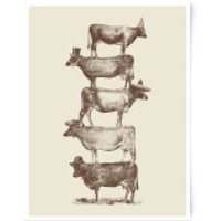 Cow Cow Nuts Art Print - A4 - Wood Frame