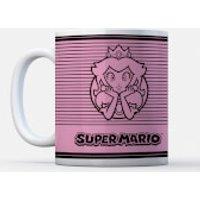 Nintendo Super Mario Princess Peach Retro Line Art Colour Mug