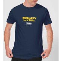 Plain Lazy Scruffy On Purpose Mens T-Shirt - Navy - L - Navy