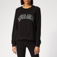 Emporio Armani Women's Logo Cropped Front Sweatshirt - Black - IT 40 - Black