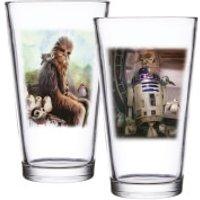 Star Wars: EPVIII The Last Jedi Set of 2 Pint Glasses - Porg & R2-D2 Scene