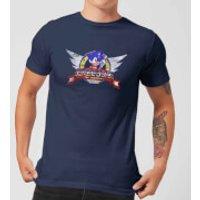 Sonic The Hedgehog Distressed Start Screen Men's T-Shirt - Navy - XXL - Navy