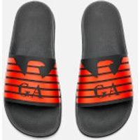 Emporio Armani Men's Zup Slide Sandals - Black/Black/Mandarin - UK 10 - Black