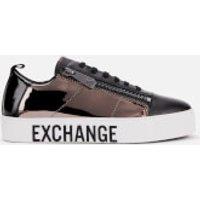 Armani Exchange Mirror Patent Flatform Trainers - Black/gun Metal/black