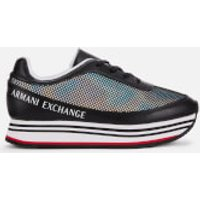 Armani Exchange Women's Leather/Mesh Chunky Runner Style Trainers - Black - UK 5 - Black