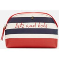 Joules Short Haul Make Up Bag - Navy Stripe Text