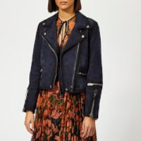 Coach 1941 Womens Burnished Suede Moto Jacket - Navy - US 4/