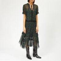 Coach-1941-Womens-Embellished-Retro-Floral-Dress-NavyGreen-US-4UK-8-Blue