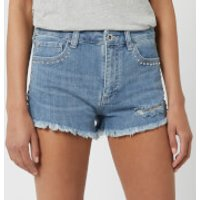 Armani Exchange Distressed Studded Shorts - Blue