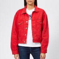 Polo-Ralph-Lauren-Womens-Rosa-Wash-Denim-Jacket-Red-L-Red