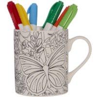 Colour In Mug with Six Pens - Butterflies - Butterflies Gifts