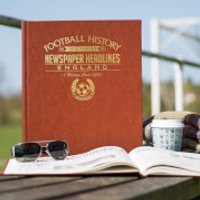 England Int Football Newspaper Book - Brown Leatherette - Books Gifts