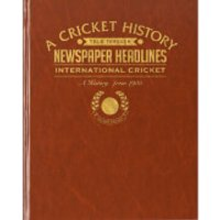 International Cricket Newspaper Book - Brown Leatherette - Cricket Gifts