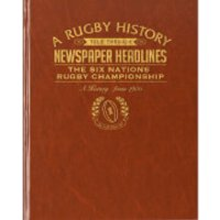 Six Nations Rugby Newspaper Book - Brown Leatherette - Rugby Gifts