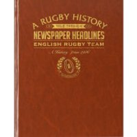 History of English Rugby Newspaper Book - Brown Leatherette - Rugby Gifts