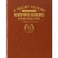 Harlequins Rugby Newspaper Book - Brown Leatherette - Rugby Gifts
