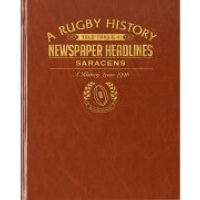 Saracens Rugby Newspaper Book - Brown Leatherette - Rugby Gifts