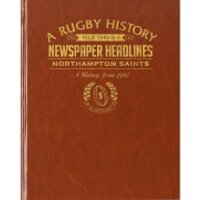 Northampton Rugby Newspaper Book - Brown Leatherette - Rugby Gifts