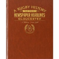 Gloucester Rugby Newspaper Book - Brown Leatherette - Rugby Gifts
