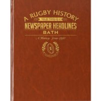 Bath Rugby Newspaper Book - Brown Leatherette - Rugby Gifts