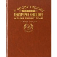 History of Welsh Rugby Newspaper Book - Brown Leatherette - Rugby Gifts