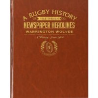 Warrington Rugby Newspaper Book - Brown Leatherette - Rugby Gifts