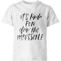 PlanetA444 It's Kinda Fun Doin' The Impossible Kids' T-Shirt - White - 11-12 Years - White - Fun Gifts