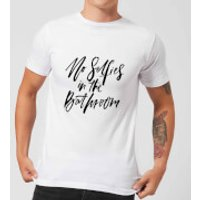 PlanetA444 No Selfies In The Bathroom Men's T-Shirt - White - S - White