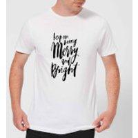 PlanetA444 Keep On Being Merry and Bright Men's T-Shirt - White - XXL - White