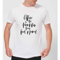 PlanetA444 Caffeine Is The Foundation Of My Food Pyramid Men's T-Shirt - White - XXL - White - Makeup Gifts