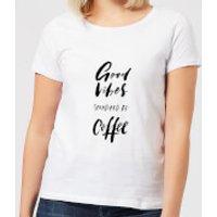 Good Vibes Sponsored By Coffee Women's T-Shirt - White - XL - White