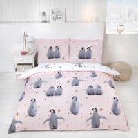 Starry Penguins Duvet Cover Set - Pink - Single - Multi - Penguins Gifts
