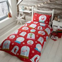 Snow Globe Duvet Cover Set - Red - Double - Multi