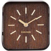 Karlsson Table Clock Squared - Black Steel/Dark Wood Dial - Karlsson Gifts